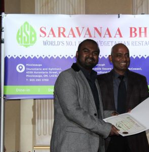 "TWO BRANCHES OF ""SARAVANAA BHAVAN"" INDIAN RESTAURANT IN CANADA, CELEBRATED ANNUAL GET TOGETHER AND APPRECIATION NIGHT IN SCARBOROUGH."